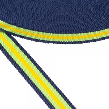 Ιμάντας Μπλε με πράσινη και κίτρινη ρίγα 30mm