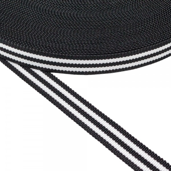 Ιμάντας Μαύρος με διπλή άσπρη ρίγα 30mm