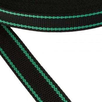 Ιμάντας συνθετικός Μαύρο με πράσινες ρίγες  30mm