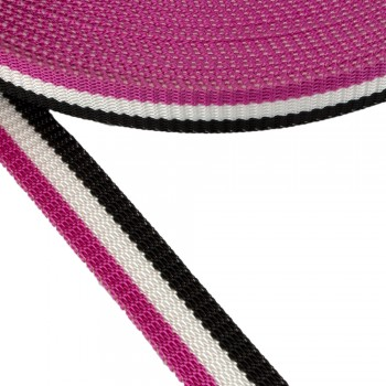 Ιμάντας ζώνης σε τριχρωμία Μαύρο - Λευκό - Φούξια 30mm