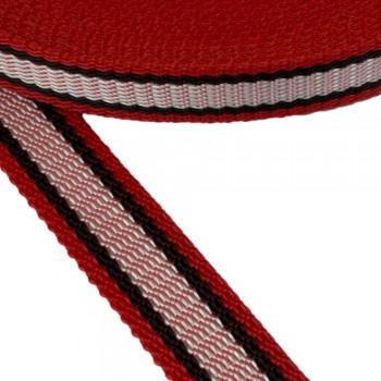 Ιμάντας ζώνης Κόκκινος με άσπρη - μαύρη ρίγα 30mm