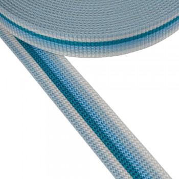 Ιμάντας ζώνης Λευκός με Θαλασσί - Γαλάζιες - Πετρόλ  ρίγες 30mm