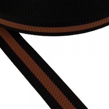 Ιμάντας ζώνης Μαύρο - Καφέ 40mm