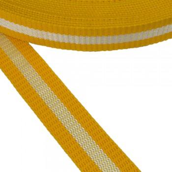 Ιμάντας ζώνης Κίτρινο - Λευκό 30mm
