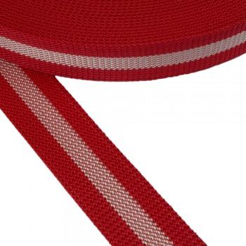 Ιμάντας ζώνης Κόκκινο - Λευκό 40mm