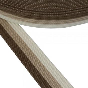 Ιμάντας ζώνης Καφέ - Μπεζ - Λευκό 40mm
