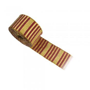 Κορδέλα συσκευασίας χρυσή, μπορντό 50mm