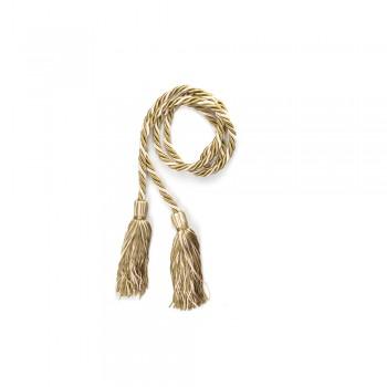 Κορδόνι μεγάλο με φούντα χρυσό - λευκό 10mm