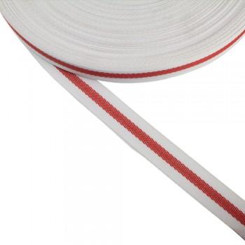 Φακαρόλα λευκή-κόκκινη συνθετική 20mm με ρίγα