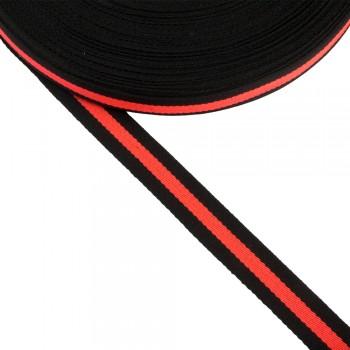 Φακαρόλα μαύρη-κοραλί συνθετική 20mm με ρίγα