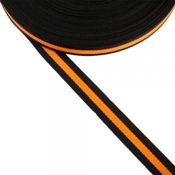 Φακαρόλα μαύρη-πορτοκαλί συνθετική 20mm με ρίγα