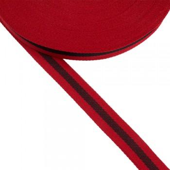Φακαρόλα κόκκινη-μαύρη συνθετική 20mm