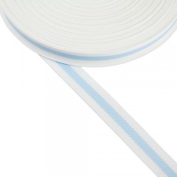 Φακαρόλα λευκή-γαλάζια συνθετική 20mm με ρίγα