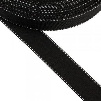 Κορδέλα γκρο μαύρη 25mm