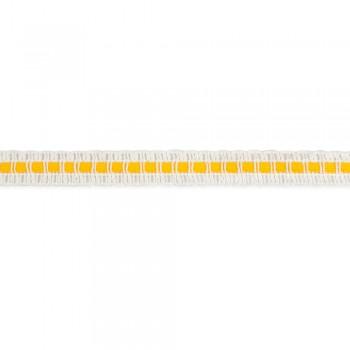 Τρέσα βαμβακερή λευκή με κίτρινο 15mm
