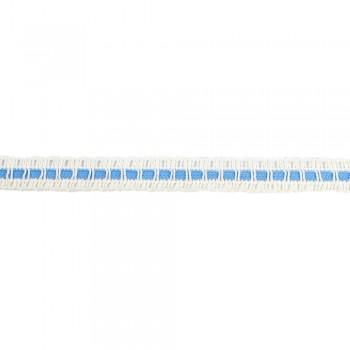Τρέσα βαμβακερή λευκή με γαλάζιο 15mm