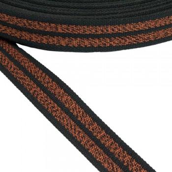 Ιμάντας ζώνης βαμβακερός Μαύρο - Καφέ 40mm