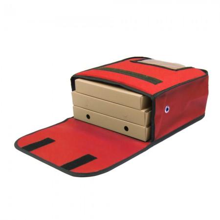 Ισοθερμική Τσάντα Θερμόσακος Delivery για μεταφορά Πίτσας χωράνε 3 μεσαίες σε κόκκινο χρώμα