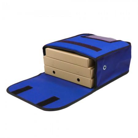 Ισοθερμική Τσάντα Θερμόσακος Delivery για μεταφορά Πίτσας χωράνε 3 μεσαίες σε μπλε ρουά χρώμα