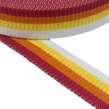 Ιμάντας βαμβακερός ζώνης  Λευκό - Κίτρινο - Πορτοκαλί - Κόκκινο  πολύχρωμος 40mm