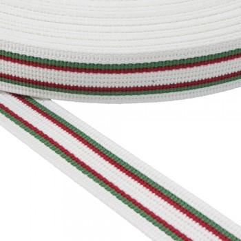 Ιμάντας  ζώνης Βαμβακερός 30mm Λευκός με Πράσινη - Κόκκινη ρίγα