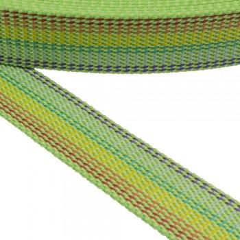 Ιμάντας ζώνης 30mm Λαχανί με Kίτρινη - Πράσινη - Κόκκινη - Μωβ  ρίγα