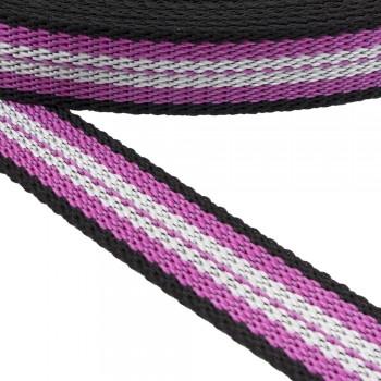 Ιμάντας ζώνης 30mm Μαύρο με Ροζ - Λευκή ρίγα