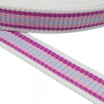 Ιμάντας  ζώνης 30mm Λευκός με Ροζ - Φούξια - Σιέλ  ρίγα