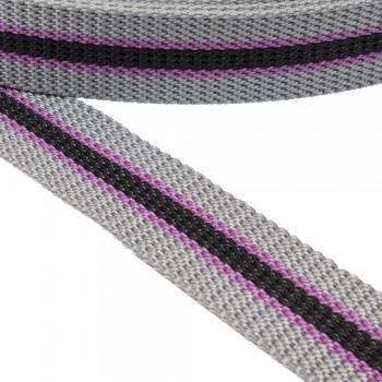 Ιμάντας ζώνης 30mm Γκρι με Μαύρη - Ροζ ρίγα