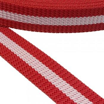 Ιμάντας ζώνης 30mm Κόκκινο με Λευκή ρίγα
