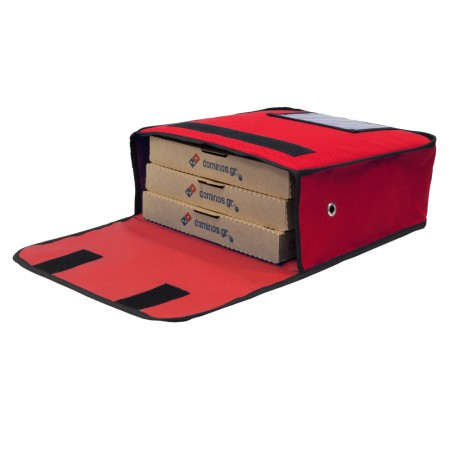 Ισοθερμική τσάντα Θερμόσακος Delivery Μεταφοράς πίτσας για 3 μεγάλες σε κόκκινο χρώμα