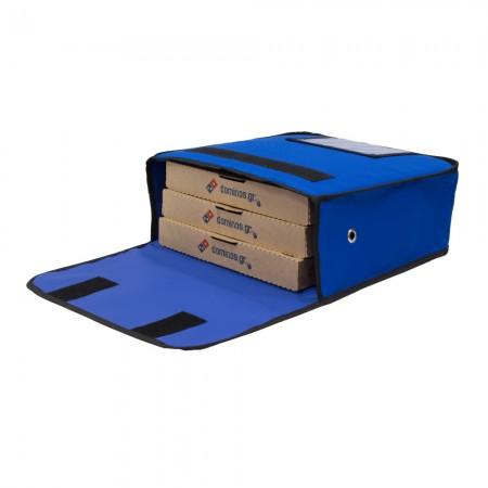 Ισοθερμική τσάντα Θερμόσακος Delivery Μεταφοράς πίτσας για 3 μεγάλες σε μπλε ρουά χρώμα