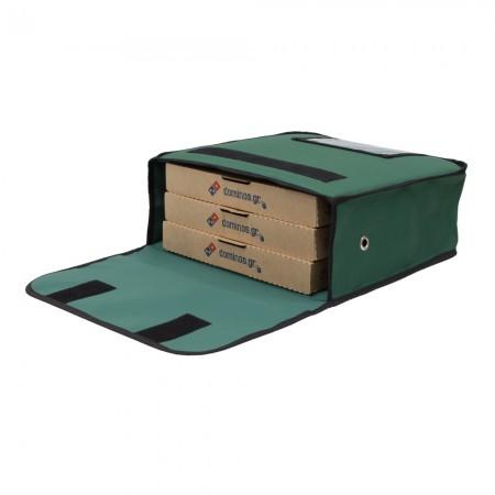 Ισοθερμική τσάντα Delivery θερμόσακος μεταφοράς πίτσας για 3 μεγάλες σε πράσινο χρώμα