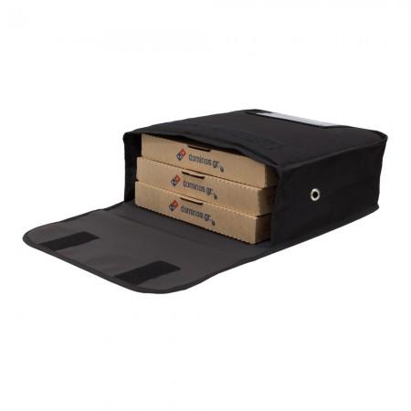 Ισοθερμική τσάντα Delivery θερμόσακος μεταφοράς πίτσας για 3 μεγάλες σε μαύρο χρώμα