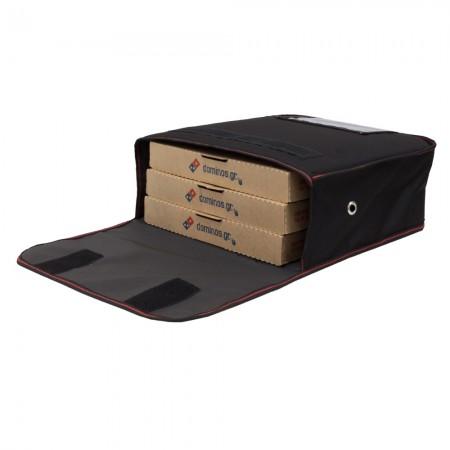 Ισοθερμική Τσάντα delivery θερμόσακος μεταφοράς πίτσας για 3 γίγας με κόκκινη ρίγα