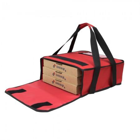 Ισοθερμική τσάντα Delivery θερμόσακος μεταφοράς πίτσας για 3 μεγάλες σε κόκκινο χρώμα