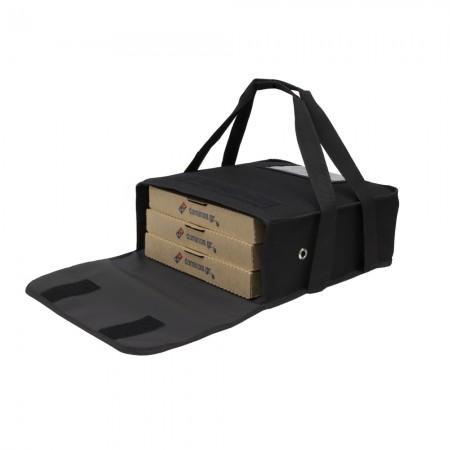 Ισοθερμική τσάντα Θερμόσακος Delivery μεταφοράς πίτσας με χερούλια για 3 μεγάλες σε μαύρο χρώμα