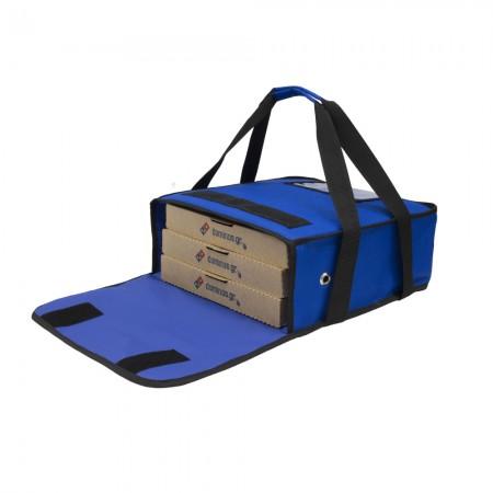 Ισοθερμική τσάντα Θερμόσακος Delivery μεταφοράς πίτσας με χερούλια για 3 μεγάλες σε μπλε χρώμα