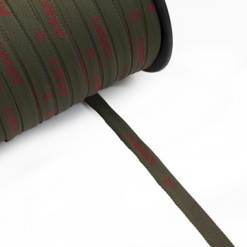 Κορδέλα με γράμματα χακί 10mm