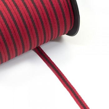 Φακαρόλα κόκκινη-μαύρη συνθετική 10mm με ρίγα