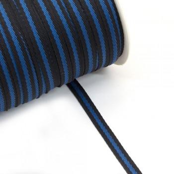 Φακαρόλα μαύρη-μπλε συνθετική 10mm με ρίγα