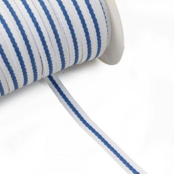 Φακαρόλα λευκή συνθετική 10mm με μπλε ρίγα