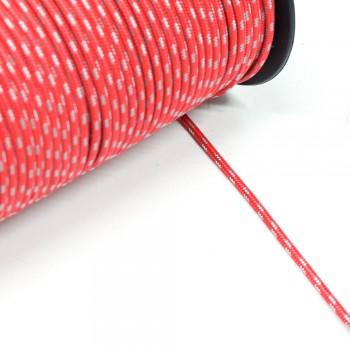 Κορδόνι ναυτικό συνθετικό Kόκκινο - Aσημί 3mm