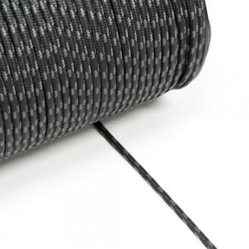 Κορδόνι ναυτικό συνθετικό Mαύρο - Aσημί 3mm