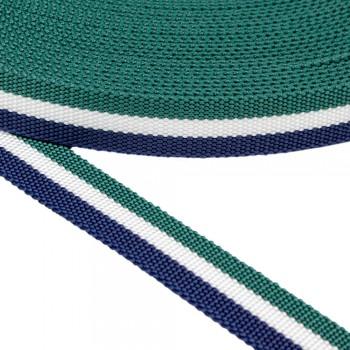 Ιμάντας με Μπλε - Άσπρη - Πράσινη ρίγα 30mm
