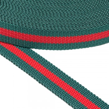 Ιμάντας Πράσινη - Κόκκινη ρίγα 30mm