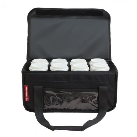 Ισοθερμική τσάντα θερμόσακος Delivery για μεταφορά εως 8 καφέ ή 24 λίτρα σε μαύρο χρώμα