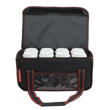 Ισοθερμική τσάντα Delivery Καφέ Θερμόσακος για Μεταφορά εως 8 καφέ ή 24 λίτρα με κόκκινη ρίγα
