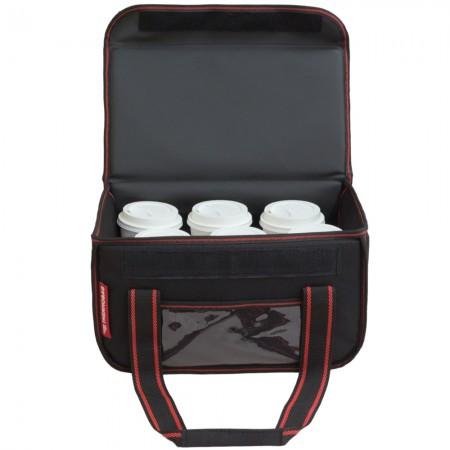 Ισοθερμική τσάντα Θερμόσακος Delivery Μεταφοράς εως 6 καφέ ή 15 λίτρα μαύρη με κόκκινη ρίγα