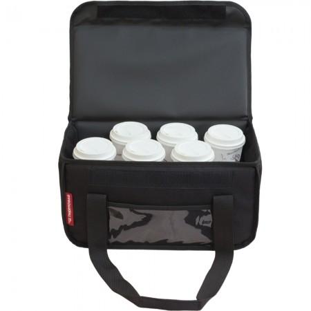 Ισοθερμική τσάντα θερμόσακος delivery για μεταφορά εως 8 + 3 ή 6 + 2 καφέ ή 20 λίτρα σε μαύρο χρώμα